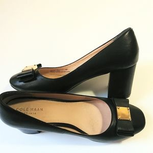 Cole Haan Shoes Stacked Heel Modest Bow Black 7.5B